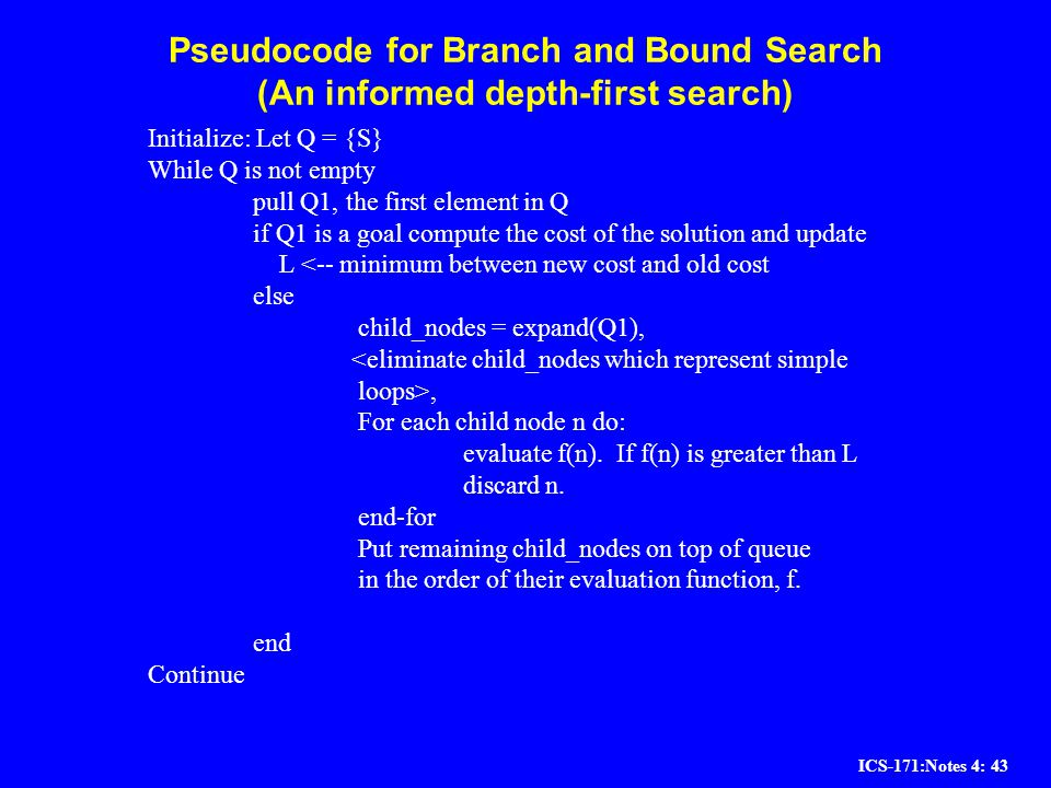 ICS-171:Notes 4: 43 Pseudocode for Branch and Bound Search (An informed depth-first search) Initialize: Let Q = {S} While Q is not empty pull Q1, the