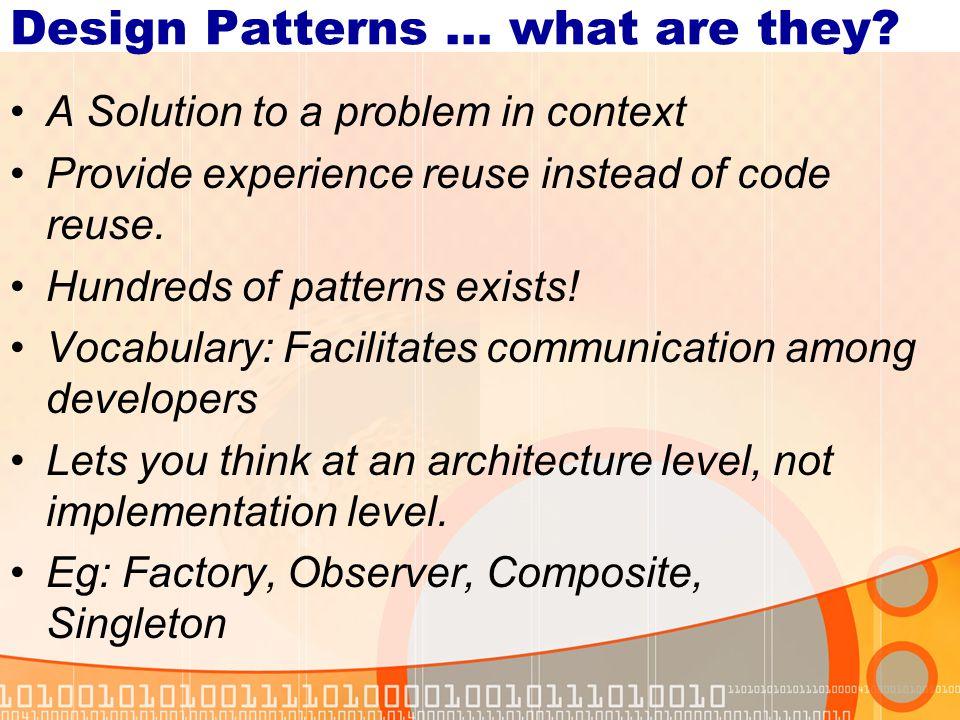 Frameworks and Design Patterns