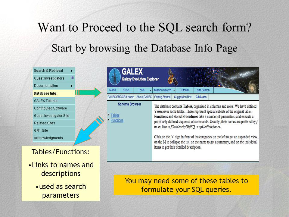 Want to Proceed to the SQL search form.