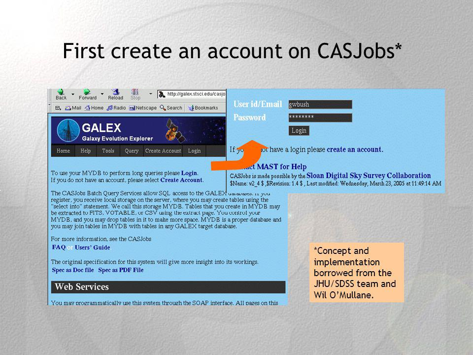First create an account on CASJobs* *Concept and implementation borrowed from the JHU/SDSS team and Wil OMullane.