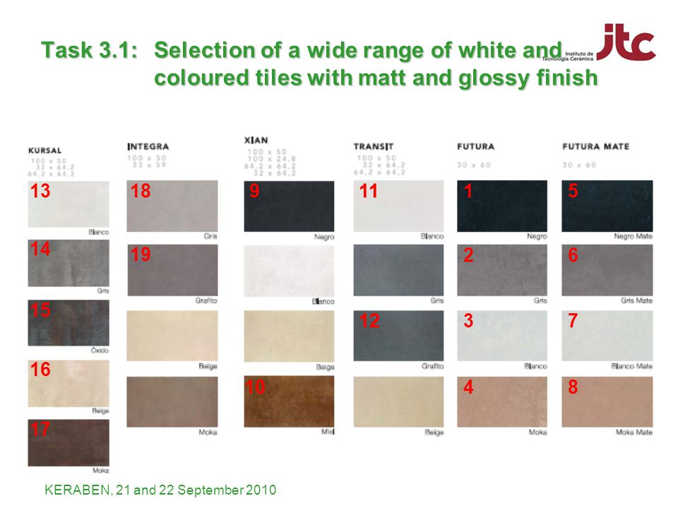 KERABEN, 21 and 22 September 2010 1 2 3 4 5 6 7 8 11 12 11 12 18 19 9 10 13 14 15 16 17 Task 3.1: Selection of a wide range of white and coloured tiles with matt and glossy finish