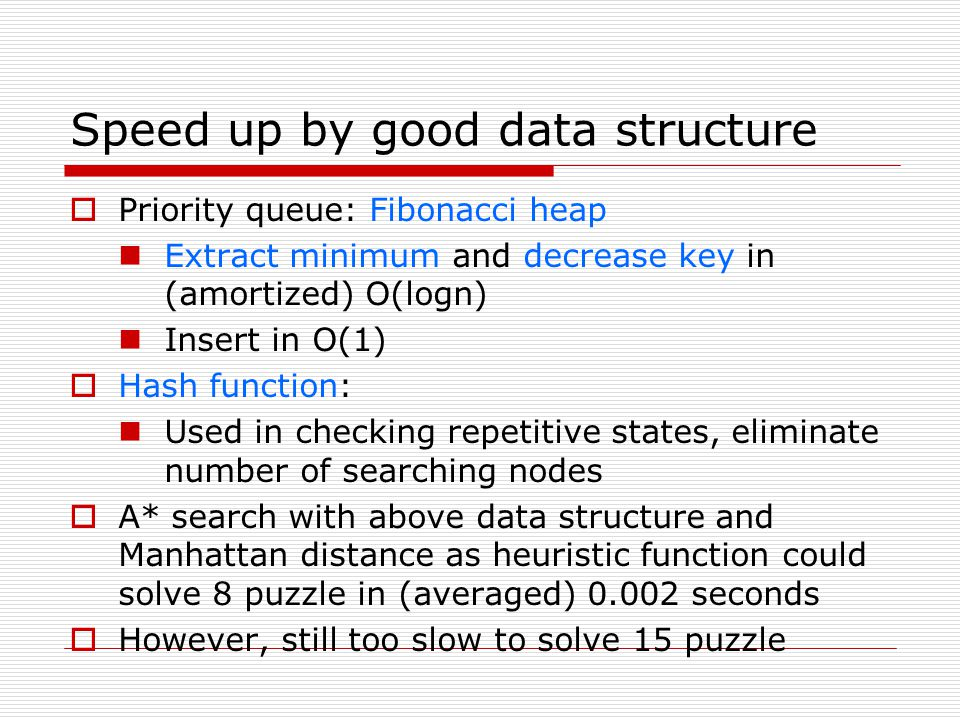 Speed up by good data structure Priority queue: Fibonacci heap Extract minimum and decrease key in (amortized) O(logn) Insert in O(1) Hash function: U
