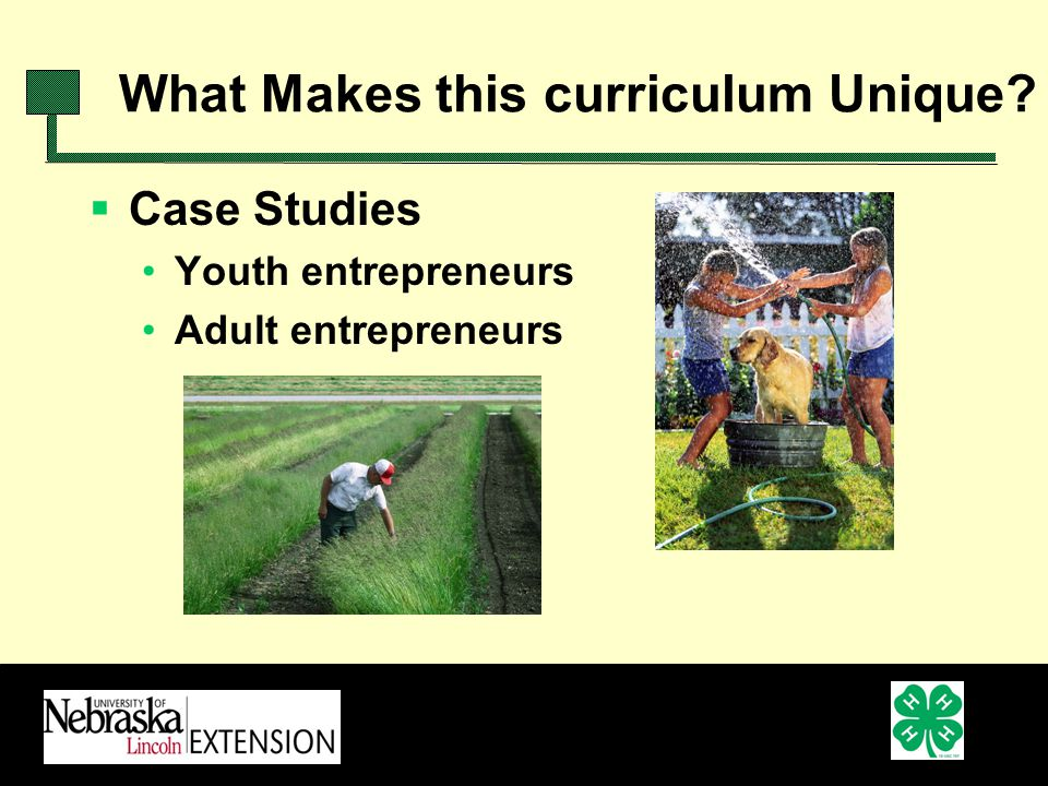 Case Studies Youth entrepreneurs Adult entrepreneurs What Makes this curriculum Unique