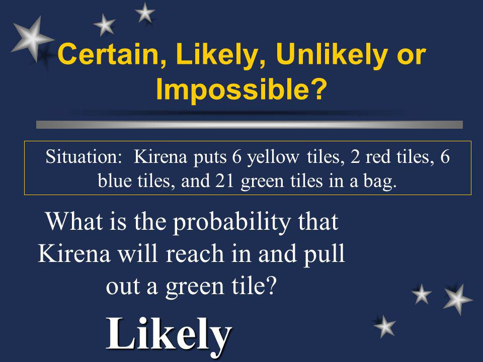 Certain, Likely, Unlikely or Impossible.