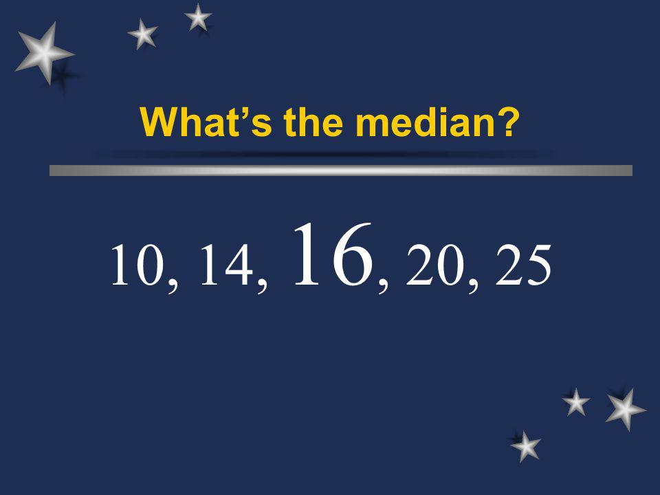Whats the median 10, 14, 16, 20, 25
