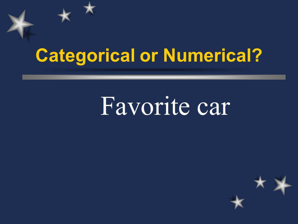 Categorical or Numerical Favorite car