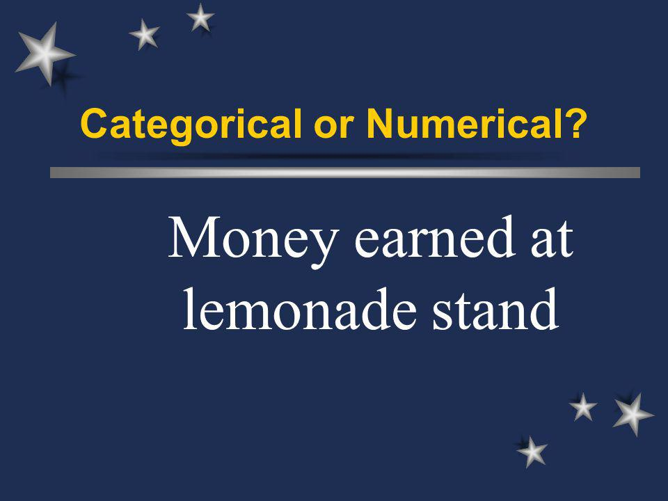 Categorical or Numerical Money earned at lemonade stand