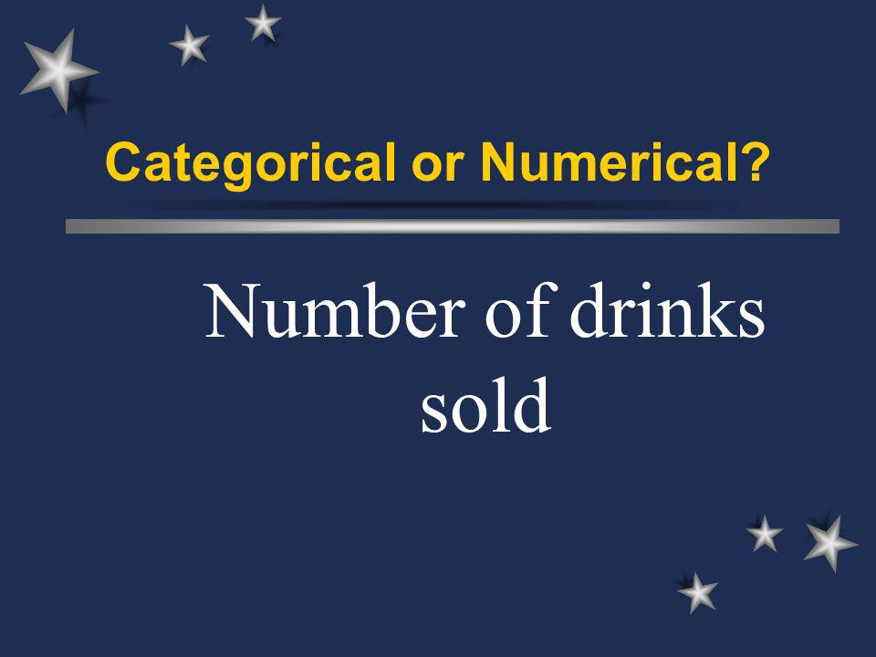 Categorical or Numerical Number of drinks sold