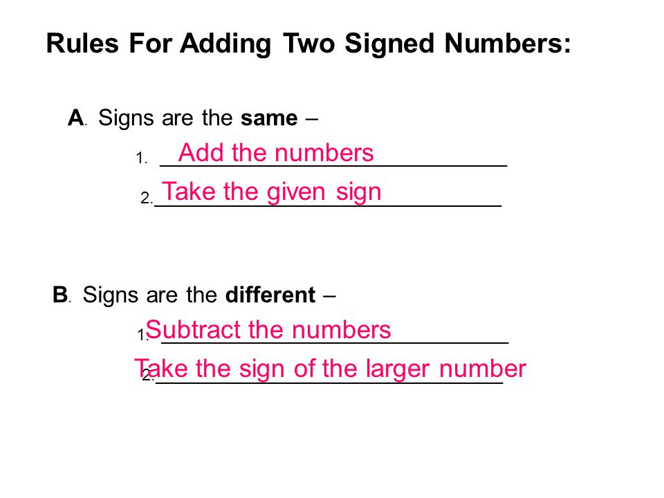 Rules For Adding Two Signed Numbers: A. Signs are the same – 1.______________________________________ 2.______________________________________ Add the
