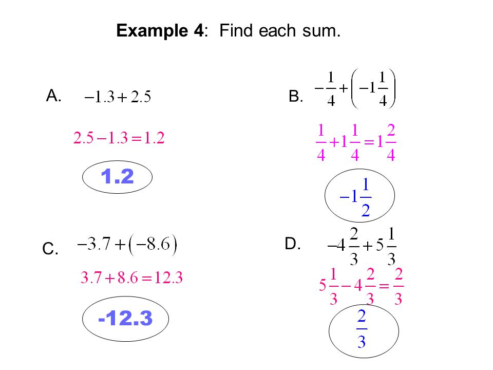 Example 4: Find each sum. A. B. C. D. 1.2 -12.3