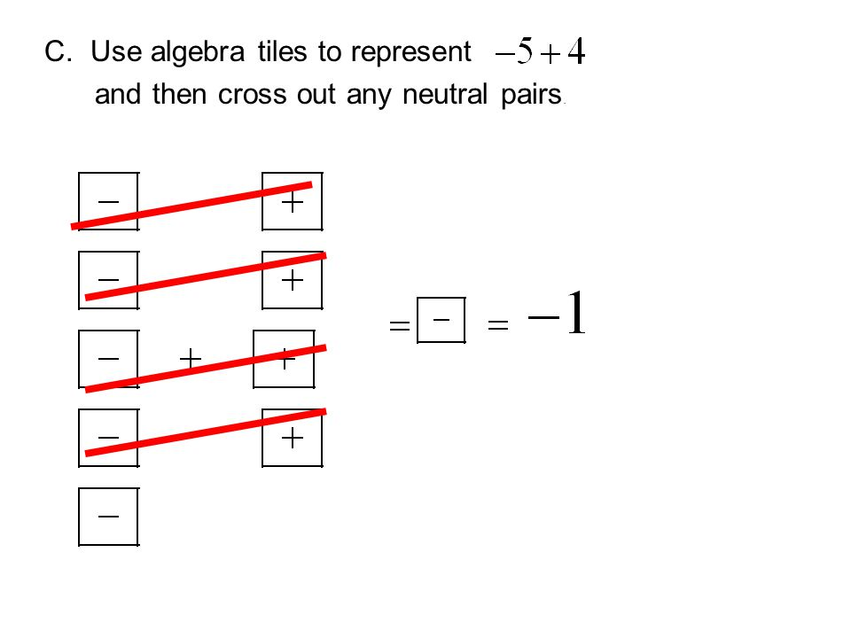 C. Use algebra tiles to represent and then cross out any neutral pairs.