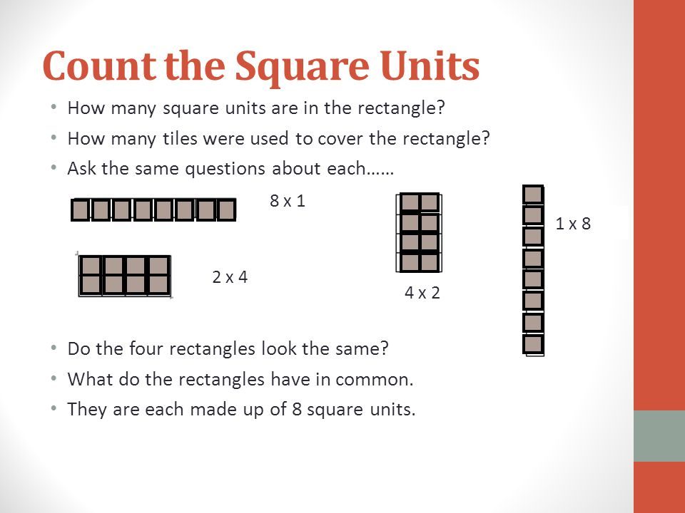 Count the Square Units How many square units are in the rectangle? How many tiles were used to cover the rectangle? Ask the same questions about each…