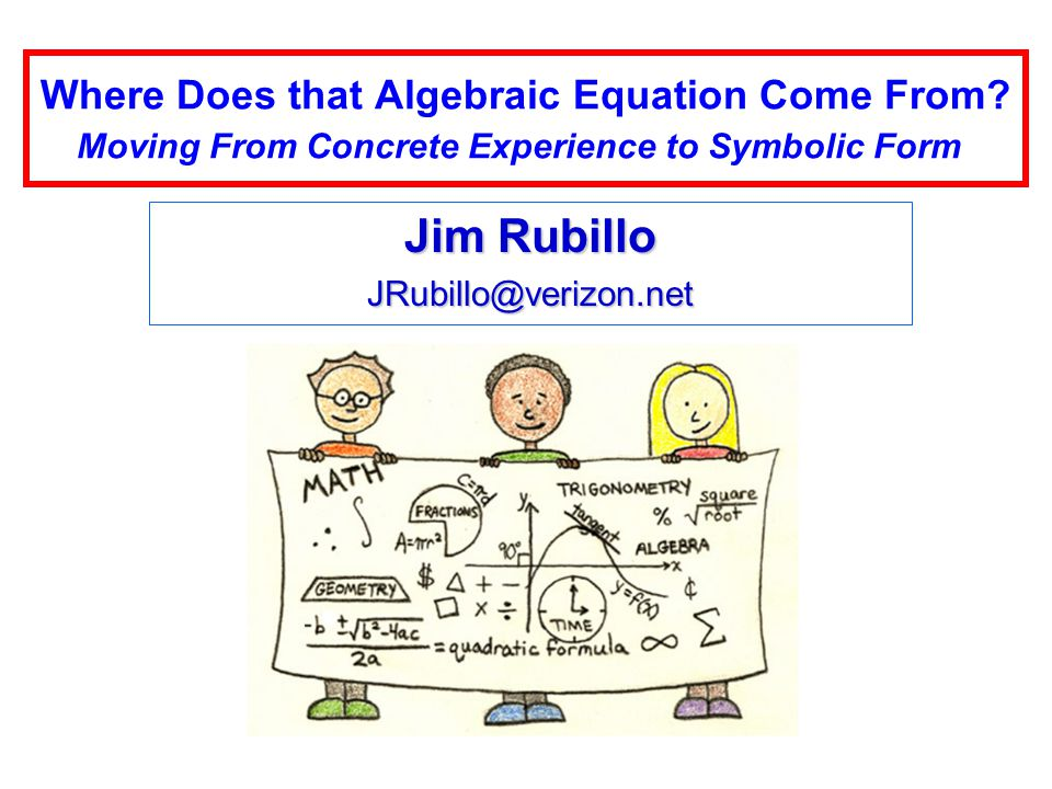 Where Does that Algebraic Equation Come From.