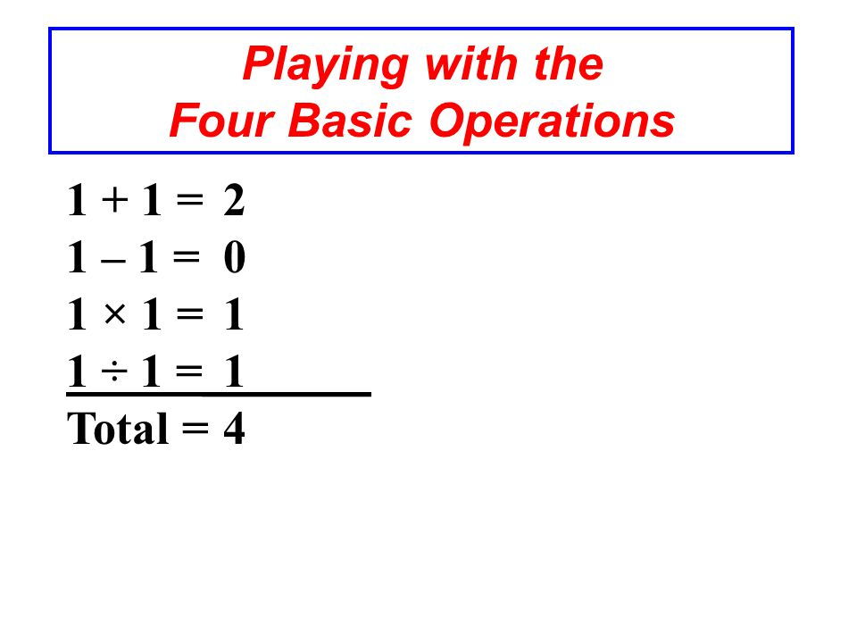 Playing with the Four Basic Operations 1 + 1 = 1 – 1 = 1 × 1 = 1 ÷ 1 =_______ Total = 2011420114