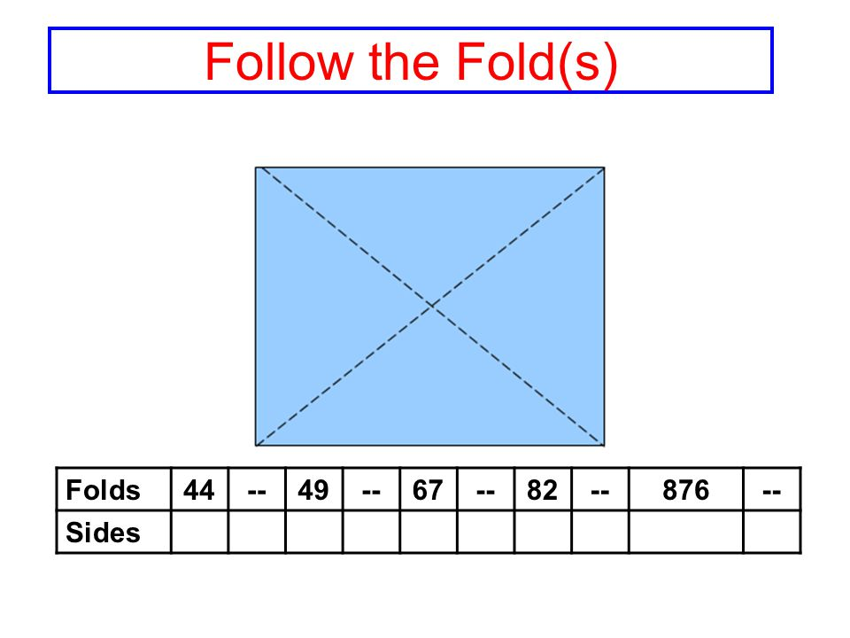 Folds44--49--67--82--876-- Sides Follow the Fold(s)