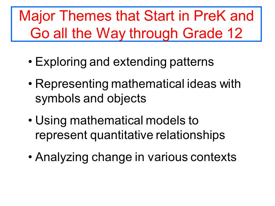 Major Themes that Start in PreK and Go all the Way through Grade 12 Exploring and extending patterns Representing mathematical ideas with symbols and objects Using mathematical models to represent quantitative relationships Analyzing change in various contexts