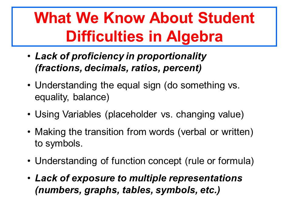 What We Know About Student Difficulties in Algebra Lack of proficiency in proportionality (fractions, decimals, ratios, percent) Understanding the equal sign (do something vs.
