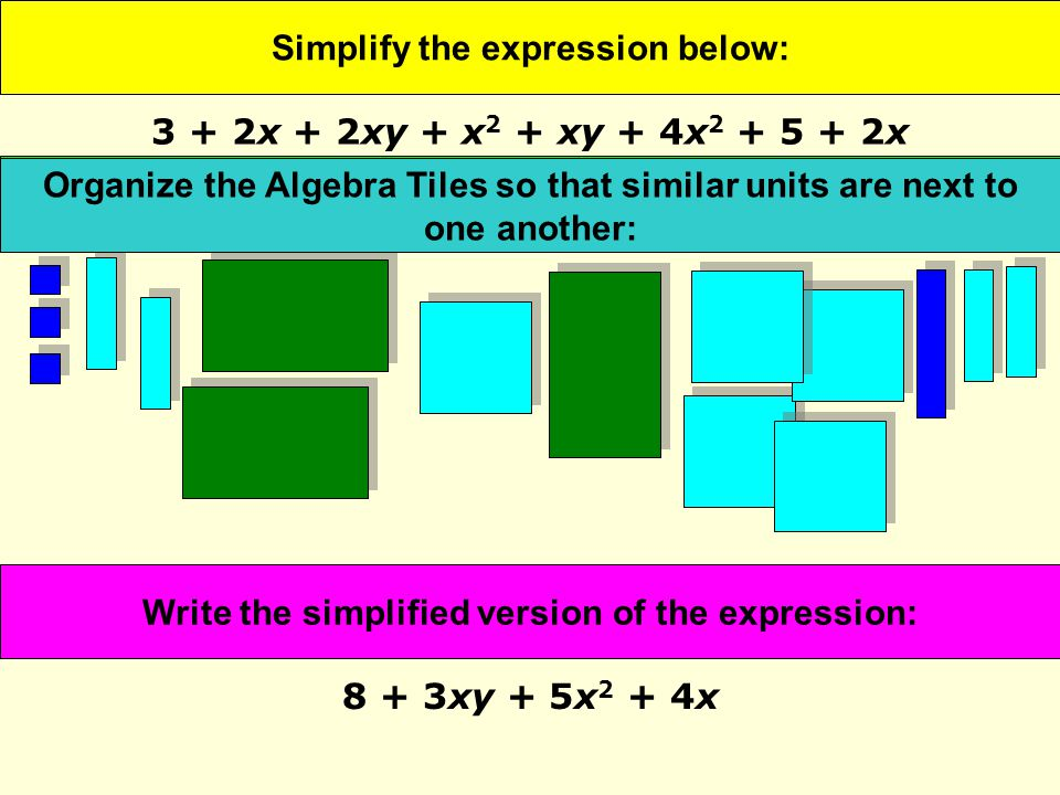 Simplify the expression below: 8 + 3xy + 5x 2 + 4x Represent the expression with Algebra Tiles: Organize the Algebra Tiles so that similar units are next to one another: Write the simplified version of the expression: 3 + 2x + 2xy + x 2 + xy + 4x 2 + 5 + 2x