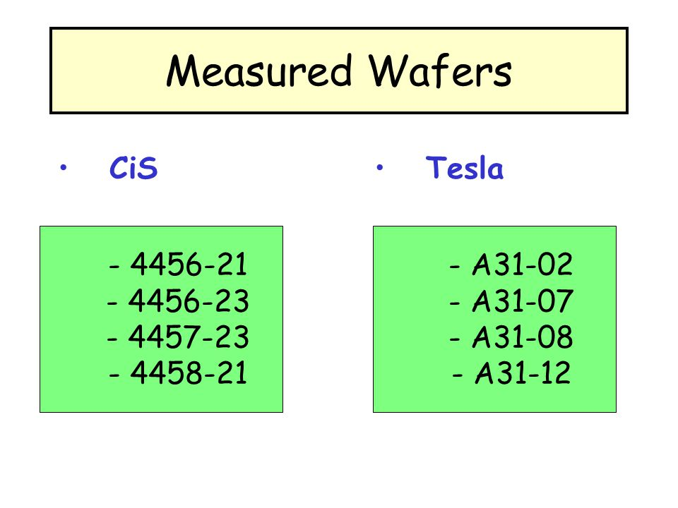 Measured Wafers CiS Tesla - 4456-21 - 4456-23 - 4457-23 - 4458-21 - A31-02 - A31-07 - A31-08 - A31-12