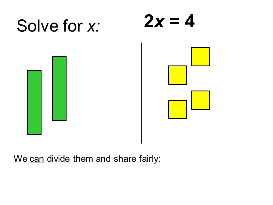 Solve for x: We can divide them and share fairly: 2x = 4