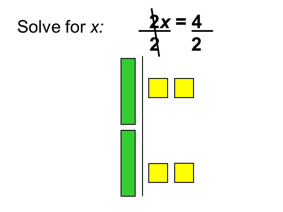 Solve for x: 2x = 4 ___ = __ 2 2