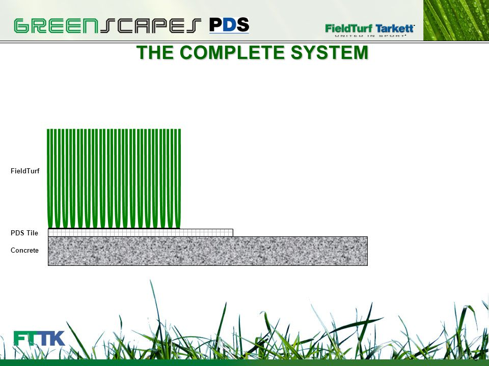 3 THE COMPLETE SYSTEM Crushed Stone PDS Tile Concrete FieldTurf