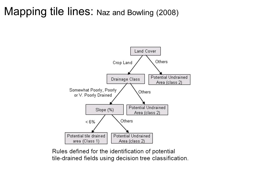 Rules defined for the identification of potential tile drained fields using decision tree classification. Mapping tile lines: Naz and Bowling (2008)