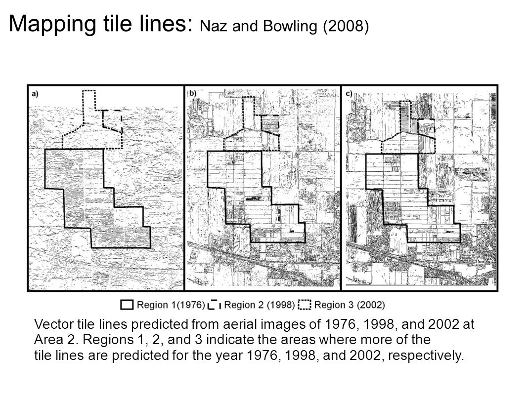 Mapping tile lines: Naz and Bowling (2008) Vector tile lines predicted from aerial images of 1976, 1998, and 2002 at Area 2.