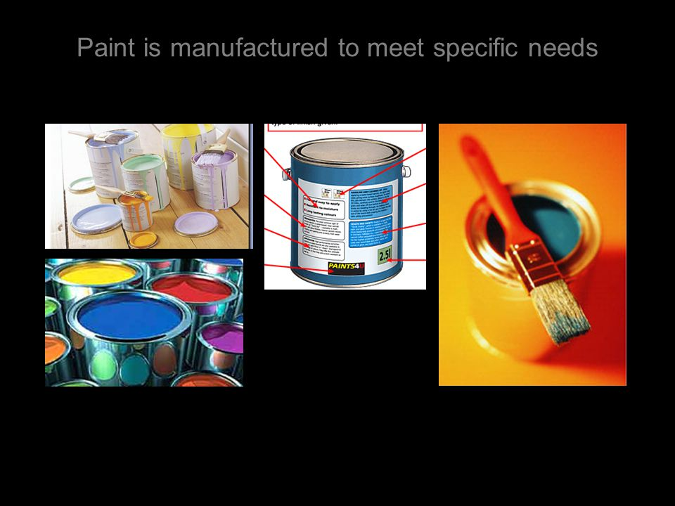 Paint is manufactured to meet specific needs