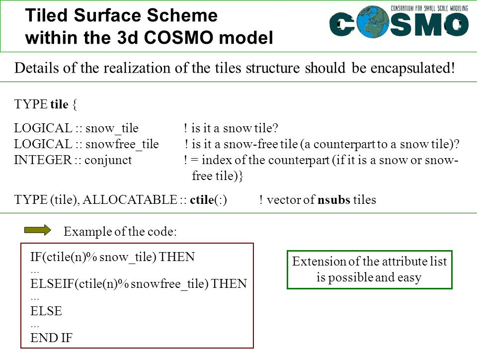 Tiled Surface Scheme within the 3d COSMO model Details of the realization of the tiles structure should be encapsulated! TYPE tile { LOGICAL :: snow_t