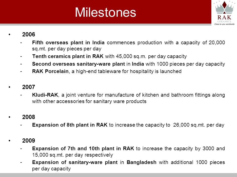 2006 -Fifth overseas plant in India commences production with a capacity of 20,000 sq.mt.