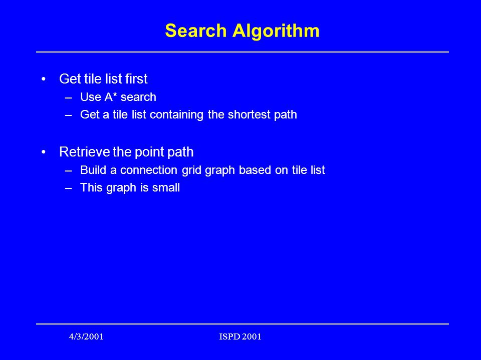 4/3/2001ISPD 2001 Search Algorithm Get tile list first –Use A* search –Get a tile list containing the shortest path Retrieve the point path –Build a connection grid graph based on tile list –This graph is small