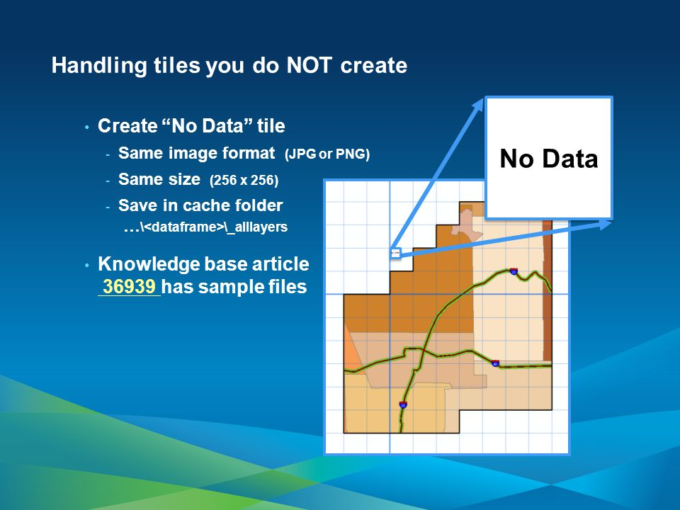 Handling tiles you do NOT create Create No Data tile - Same image format (JPG or PNG) - Same size (256 x 256) - Save in cache folder … \ \_alllayers Knowledge base article 36939 has sample files 36939 No Data