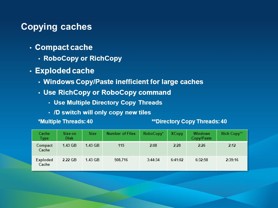 Copying caches Compact cache RoboCopy or RichCopy Exploded cache Windows Copy/Paste inefficient for large caches Use RichCopy or RoboCopy command Use Multiple Directory Copy Threads /D switch will only copy new tiles *Multiple Threads: 40 **Directory Copy Threads: 40
