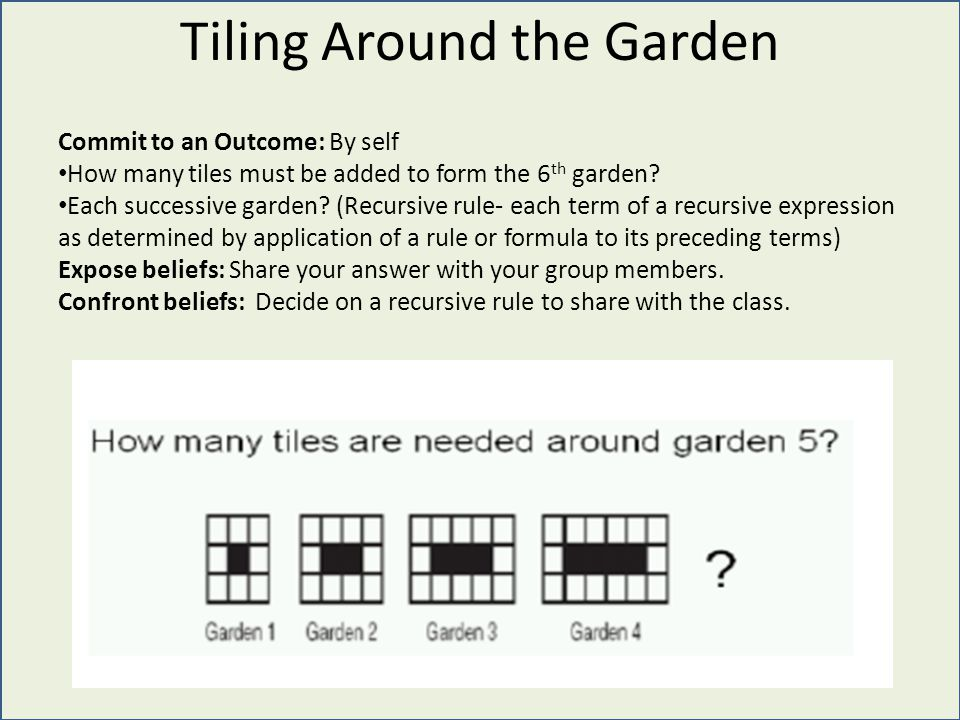 Tiling Around the Garden Commit to an Outcome: By self How many tiles must be added to form the 6 th garden.