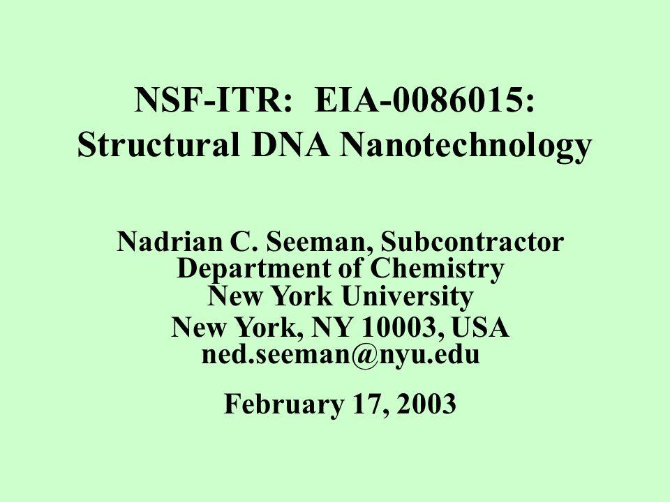 Seeman, N.C. (2001) NanoLetters 1, 22-26. Derivation of DX+J Molecules