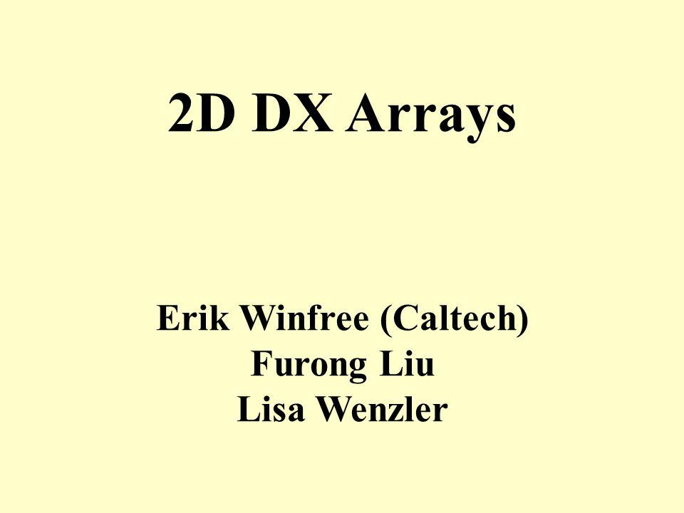 Erik Winfree (Caltech) Furong Liu Lisa Wenzler 2D DX Arrays