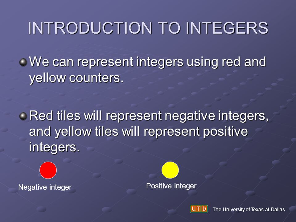 INTRODUCTION TO INTEGERS We can represent integers using red and yellow counters. Red tiles will represent negative integers, and yellow tiles will re