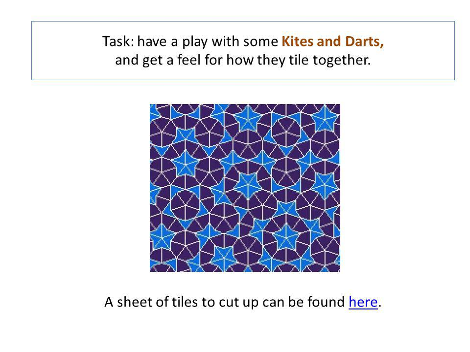 Task: have a play with some Kites and Darts, and get a feel for how they tile together. A sheet of tiles to cut up can be found here.here