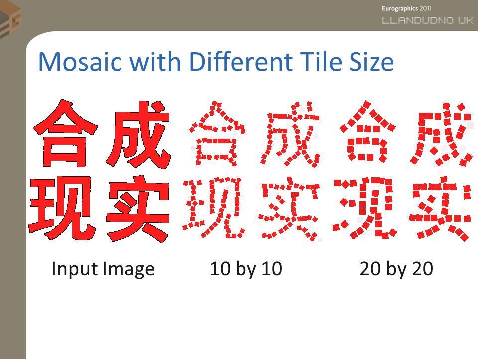 Mosaic with Different Tile Size Input Image 10 by 10 20 by 20