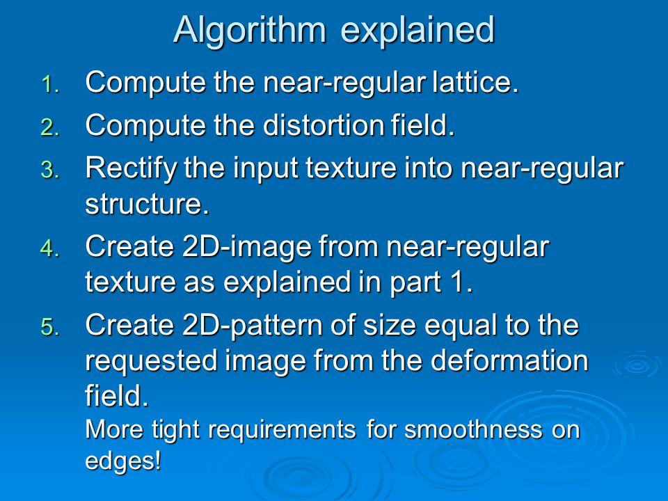 Algorithm explained 1. Compute the near-regular lattice.