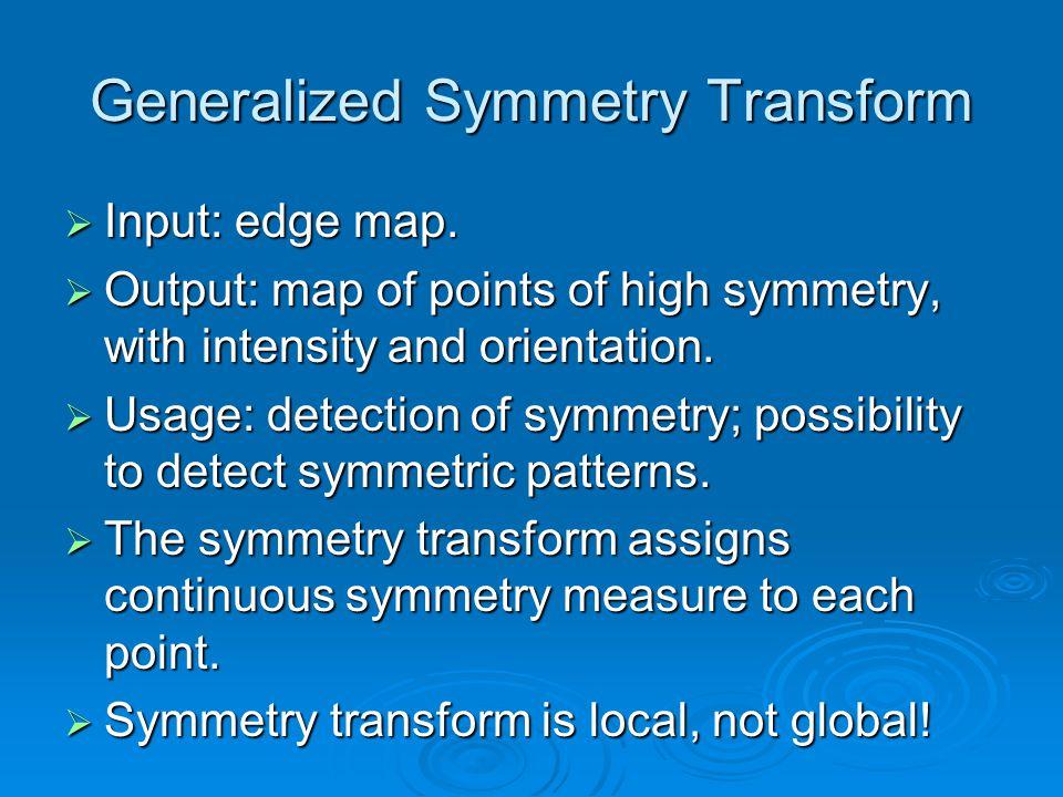 Generalized Symmetry Transform Input: edge map. Input: edge map.