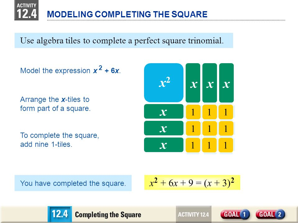 xx x M ODELING C OMPLETING THE S QUARE 111 111 111 x2x2 xxx x x x Use algebra tiles to complete a perfect square trinomial. Model the expression x 2 +