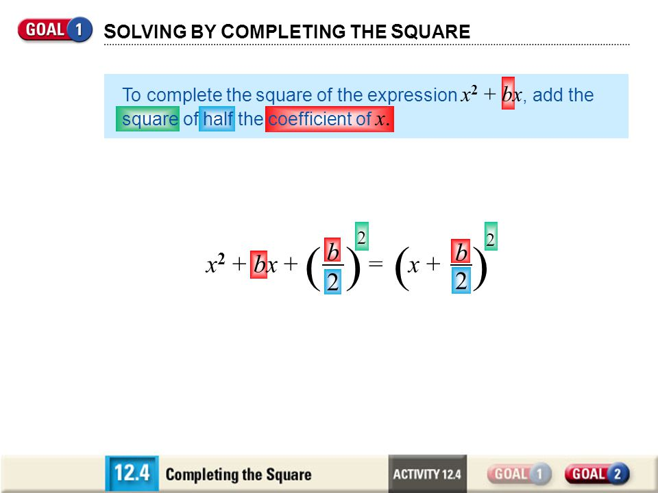 Completing the Square What term should you add to x 2 – 8x so that the result is a perfect square.