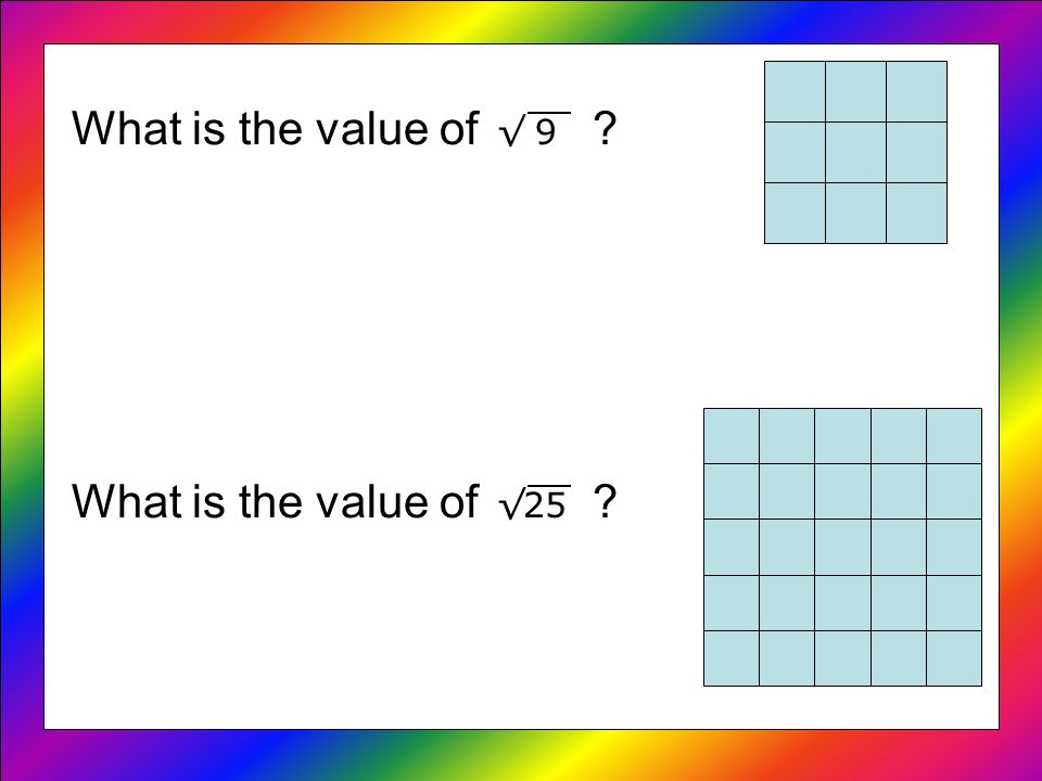 What is the value of 9 What is the value of 25