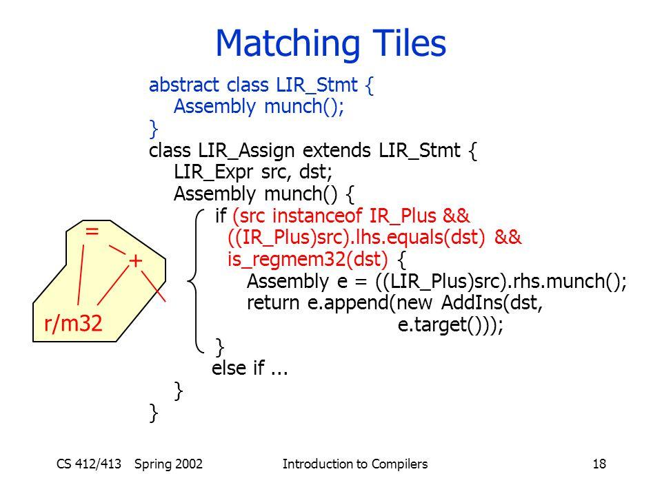 CS 412/413 Spring 2002 Introduction to Compilers18 Matching Tiles abstract class LIR_Stmt { Assembly munch(); } class LIR_Assign extends LIR_Stmt { LIR_Expr src, dst; Assembly munch() { if (src instanceof IR_Plus && ((IR_Plus)src).lhs.equals(dst) && is_regmem32(dst) { Assembly e = ((LIR_Plus)src).rhs.munch(); return e.append(new AddIns(dst, e.target())); } else if...