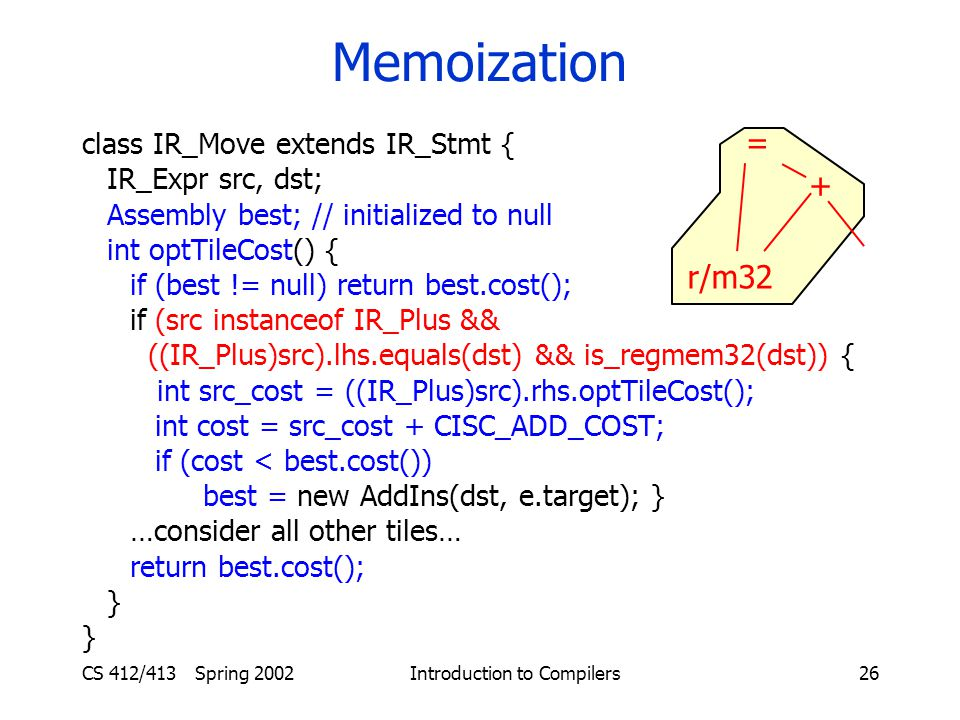 CS 412/413 Spring 2002 Introduction to Compilers26 Memoization class IR_Move extends IR_Stmt { IR_Expr src, dst; Assembly best; // initialized to null int optTileCost() { if (best != null) return best.cost(); if (src instanceof IR_Plus && ((IR_Plus)src).lhs.equals(dst) && is_regmem32(dst)) { int src_cost = ((IR_Plus)src).rhs.optTileCost(); int cost = src_cost + CISC_ADD_COST; if (cost < best.cost()) best = new AddIns(dst, e.target); } …consider all other tiles… return best.cost(); } = + r/m32