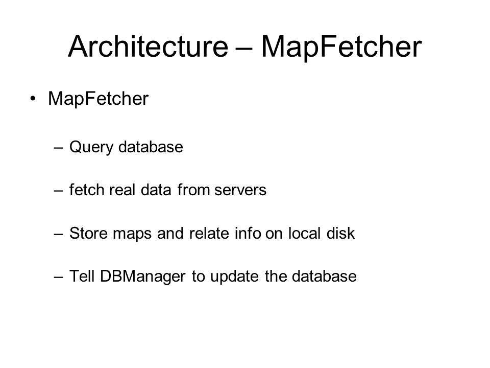 Architecture – MapFetcher MapFetcher –Query database –fetch real data from servers –Store maps and relate info on local disk –Tell DBManager to update the database