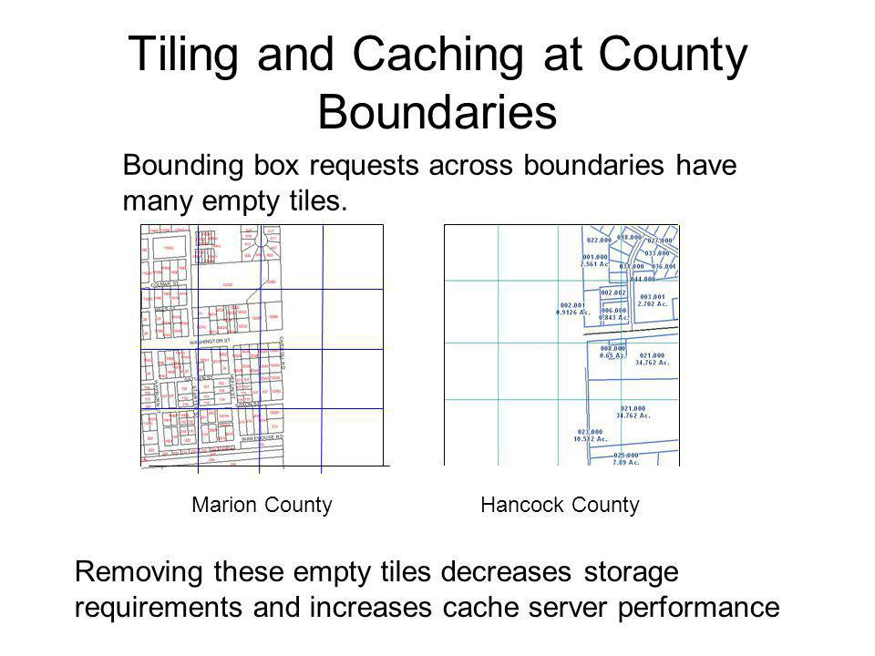 Tiling and Caching at County Boundaries Marion CountyHancock County Bounding box requests across boundaries have many empty tiles.