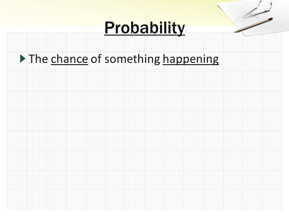The chance of something happening